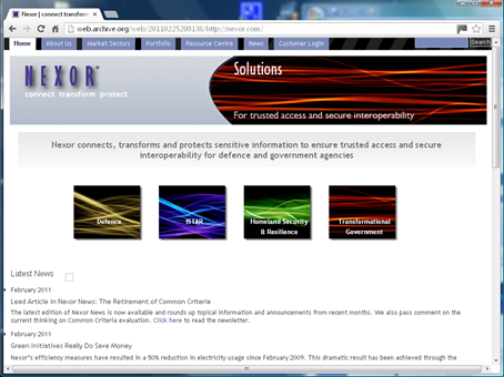Nexor website Version 6.0
