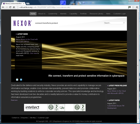 Nexor website Version 7.0
