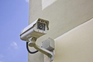 CCTV security camera at the wall.